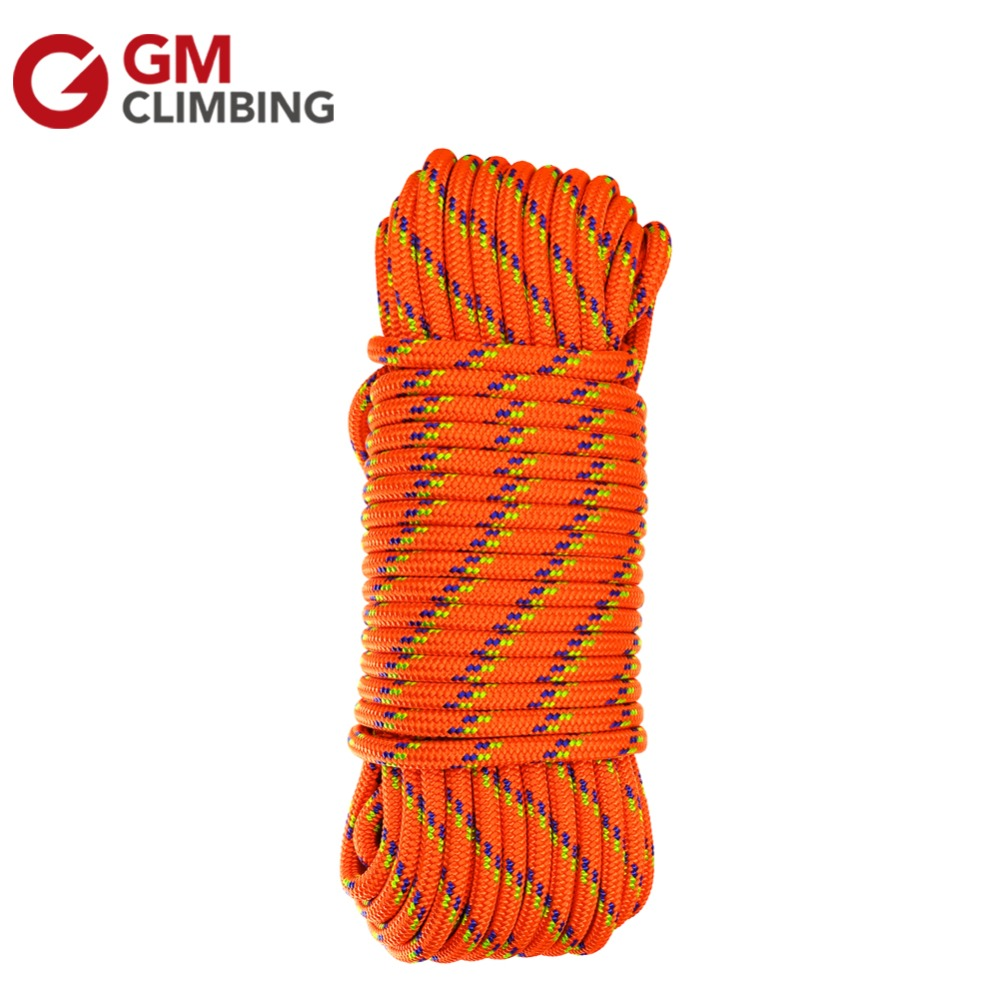 Climbing Rope 10mm Nylon Core Polyester Sheath Double Braid Accessory Cord 100ft Safety Rescue Rope Utility Cord Rigging Pulling king double krn a5t 5 zirconia ceramic utility knife w sheath red white