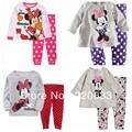 Nuevo 2016 de la ropa, traje de invierno, de los niños del bebé pijamas, minnie, gruesa ropa interior térmica, pijamas de los cabritos fijaron