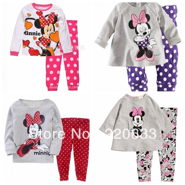 new 2016 girl clothing set,winter suit,children baby girl pyjamas,minnie,thick thermal underwear,kids pajamas set