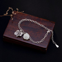 S925 Pure Silver Antique inlaid natural Hetian white lotus lotus lady high end Bracelet wholesale