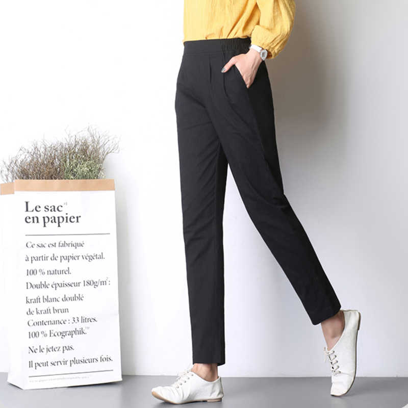 07d346f3924 ... Breathable Womens Casual Trousers New Summer Autumn Plus Size Thin Linen  Pents Female Slim Pants Elastic ...