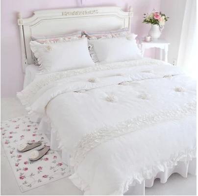 couvre lit avec dentelle 4 Pcs blanche neige princesse literie de couvre lit de dentelle  couvre lit avec dentelle