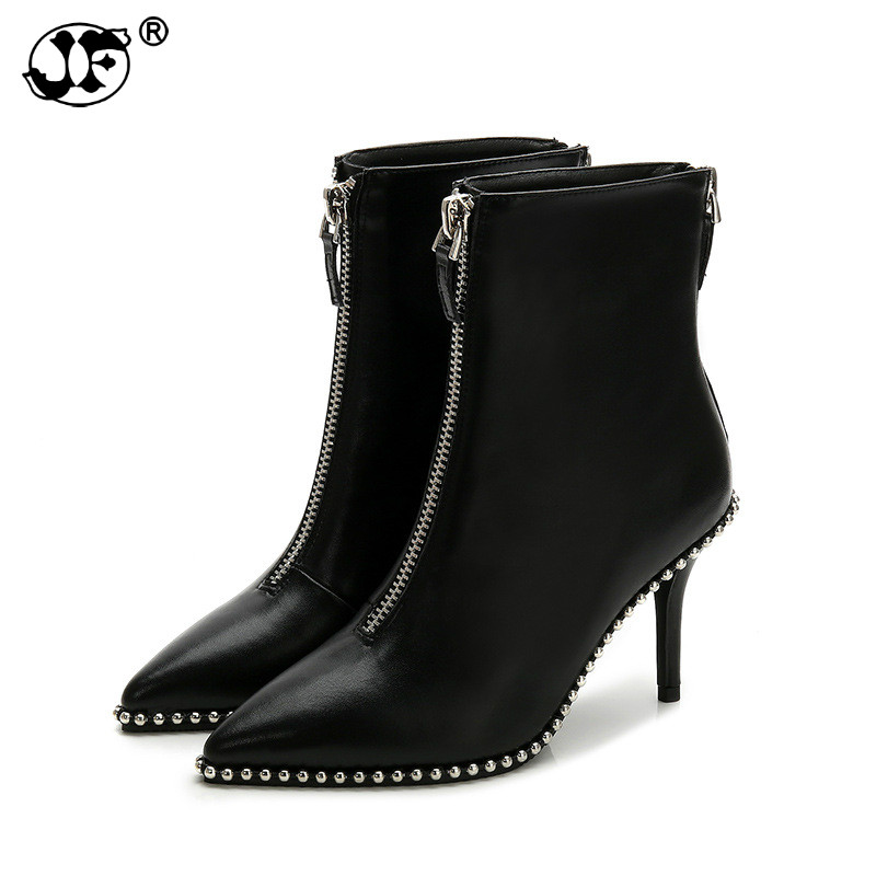 New Sexy Women Boots Rivet Rhinestone Zip High heels Boots Lady Stiletto Pointed toe Ankle Boots Martin boot red white black gg8New Sexy Women Boots Rivet Rhinestone Zip High heels Boots Lady Stiletto Pointed toe Ankle Boots Martin boot red white black gg8