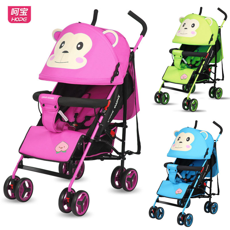 HOPE Baby Buggy Light Folding Baby Four Wheels Stroller Newborn Baby Carriage Can Lie Shock Absorber Travel Baby Trolley Pram