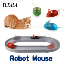 Robot Mouse toys with LED Light 4 Color with track funny mini Bionics Game for Pet cat toys for kids childrens birthday gift(China)
