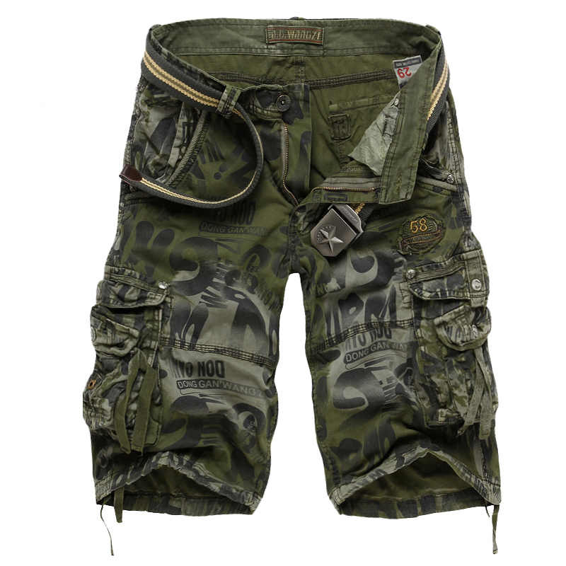 Drop shipping Men's Camouflage Shorts 2020 Summer Army Cargo Shorts Workout Shorts Loose Casual Trousers Plus size 29-40 No Belt
