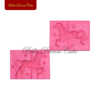 2pcs Set Horse Silicone Mold Baby Birthday Cake Fondant Decorating Tool 3D Food Grade Silicone Chocolate