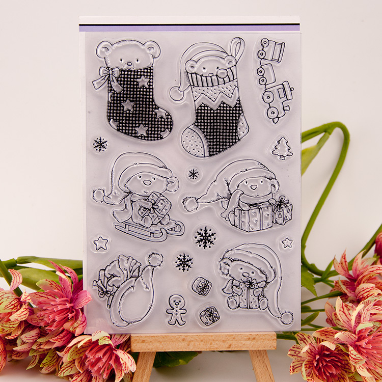 Christmas Transparent Silicone Rubber Clear Stamps cartoon for Scrapbooking DIY wedding album seal school Kid gift alphabet letters design silicon stamps scrapbooking stamp for kids diy paper card wedding gift christmas gift poto album rz 032