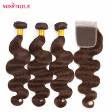 Miss Rola Hair Pre-colord Peruvian Body Wave Hair Weaving 3 Bundles With Closure #4 Color 100% Human  Non-Remy Hair Extensions