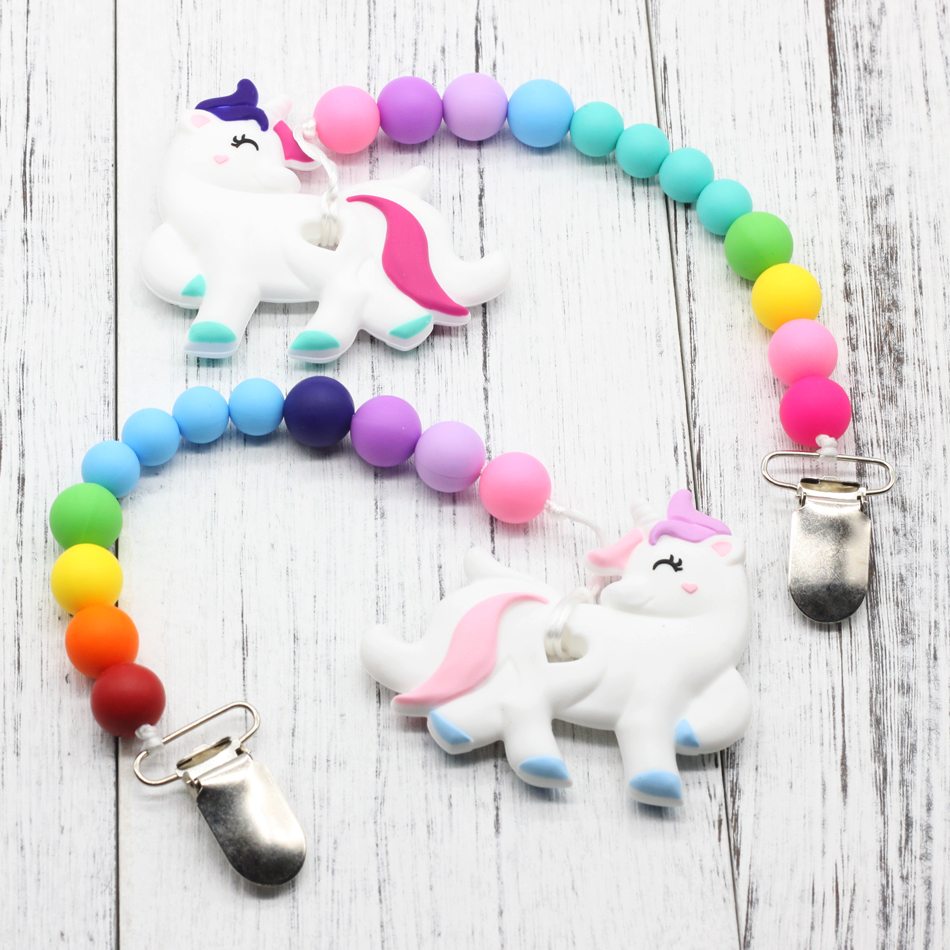 Unicorn Teething Toy Baby Shower Gift Teether Teething Toy Clip on Teether New Baby Gift Gift for New Mom  Baby nipple chain