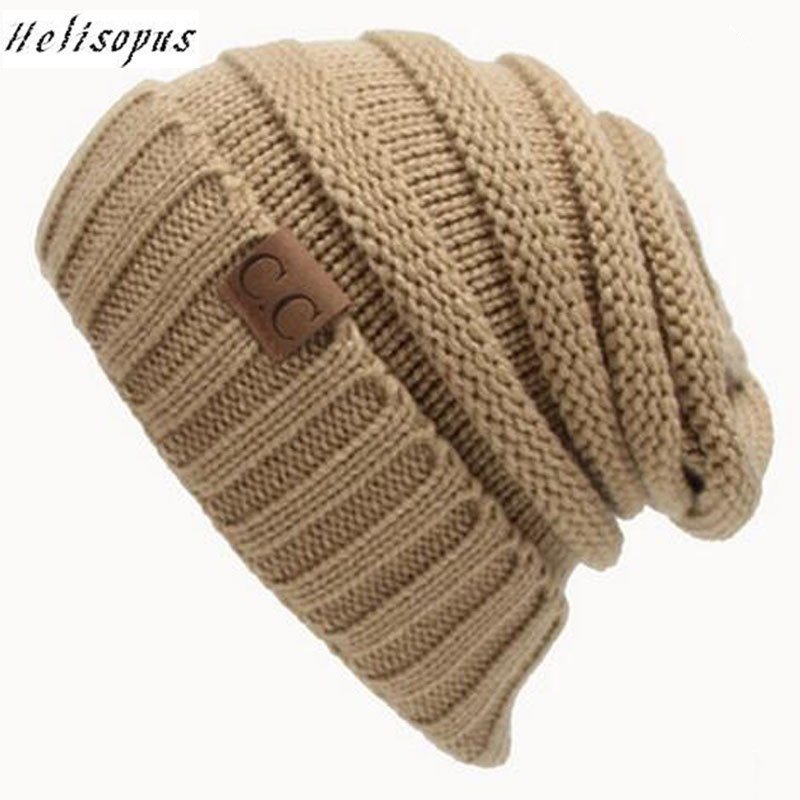 Helisopus Unisex Women's Hats Knitted Cap Casual Hats Solid Color Hip-Hop Crochet   Beanies   Caps Fashion Warm Hat   Beanies