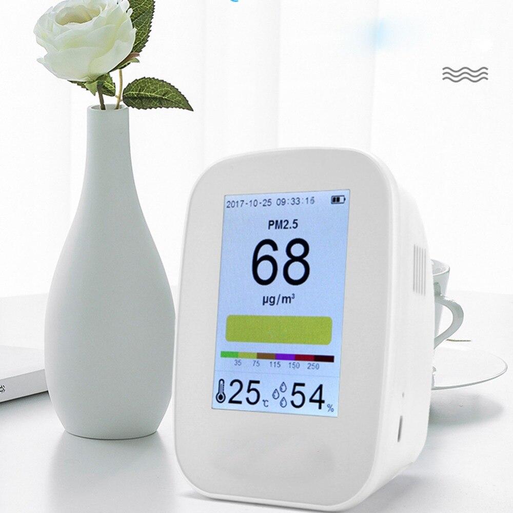Numérique intérieur/extérieur PM2.5/covt testeur mètre qualité de l'air moniteur détecteur analyseur de gaz thermomètre hygromètre