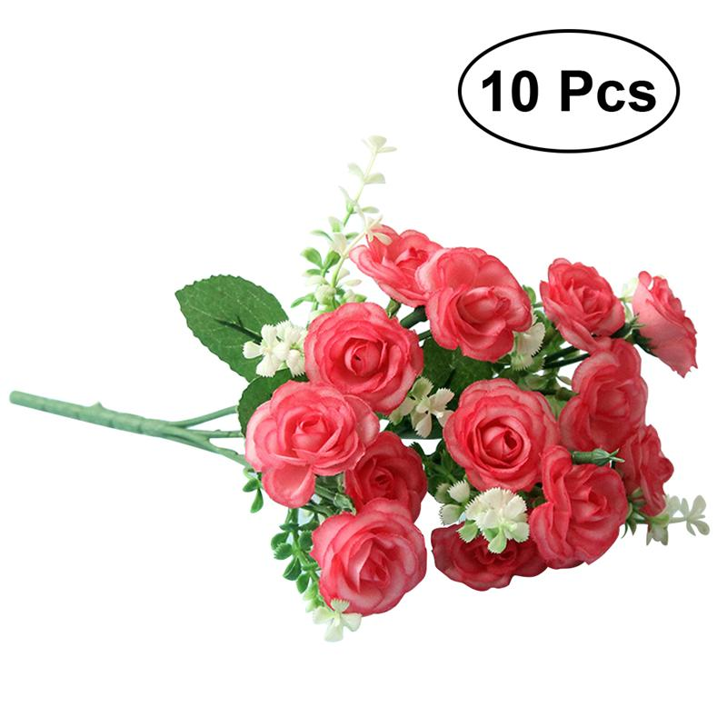 Artificial Decorations Single Silk Artificial Flower Roses Branch Fake Roses Wedding Simulation Flowers Decoration For Table Home Party Wall Background