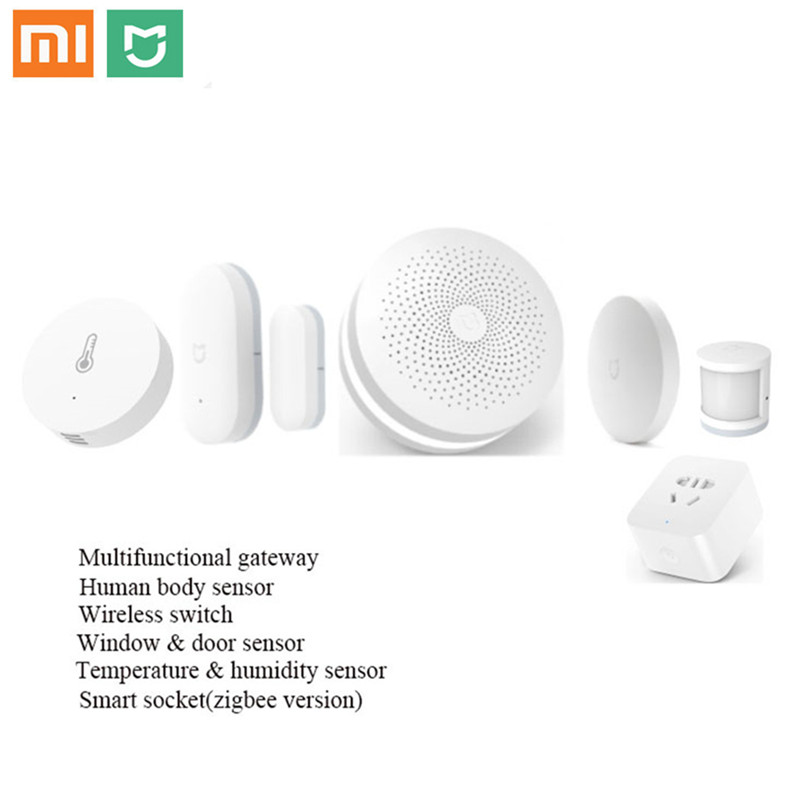 Original Xiaomi Smart 6 Home Kits Gateway Door Window Sensor Human Body Sensor Wireless Switch Humidity Zigbee Socket MI APP