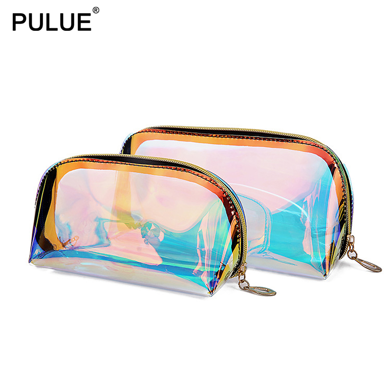Fashion Laser Cosmetic Bags Iridescence Holographic Makeup Bag Women Travel Organizer Zipper Waterproof Wash Toiletry Bag Cases