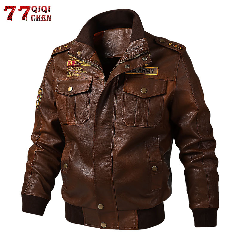 Tactical PU Leather Jacket Men Motorcycle Pilot Coat Epaulette Vintage Embroidery Military Jackets Autumn Plus Size <font><b>6XL</b></font> <font><b>hombre</b></font> image