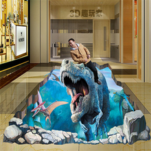 beibehang papel de parede custom 3D stereoscopic illusion wall mural painted Dinosaur wallpaper mural(China)