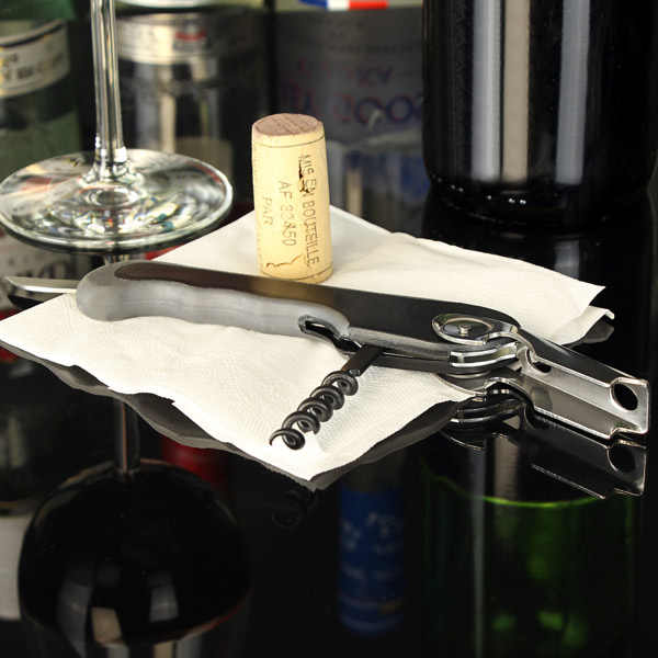 1 pieza de tornillo de vino inoxidable abridor de sacacorchos profesional de botellas de vino de camarero abridor de tapa de cerveza utensilios de cocina para Bar