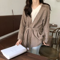 JIBAIYI Chic Style Knitted Vintage Cardigan Women Warm Loose Thick Sweater Women Tie Sashes Open Stitch Argyle Sweater Female
