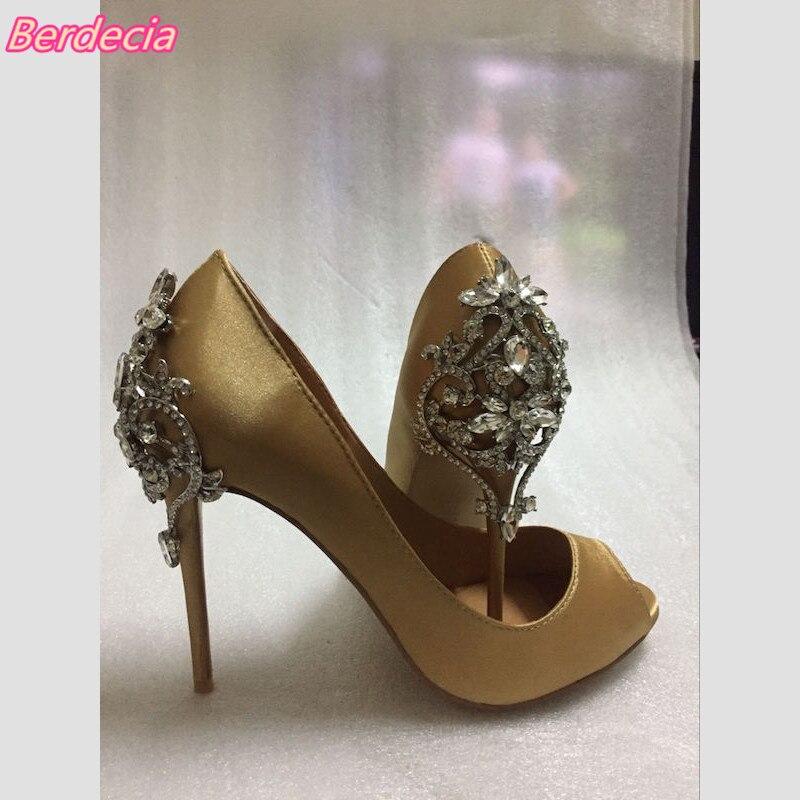 European Peep Toe Women Pumps Slipon Cut Out Metal Rhinestones Shoe Women Sexy Thin High Heels Women Party Wedding Zapatos Mujer