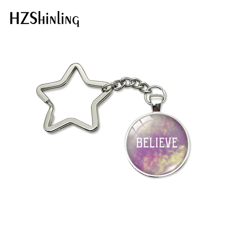 New Fashion Star Shaped Keychains Personized Inspirational Quotes Christian Letter Image Glass Dome Pendant Holder Keyrings