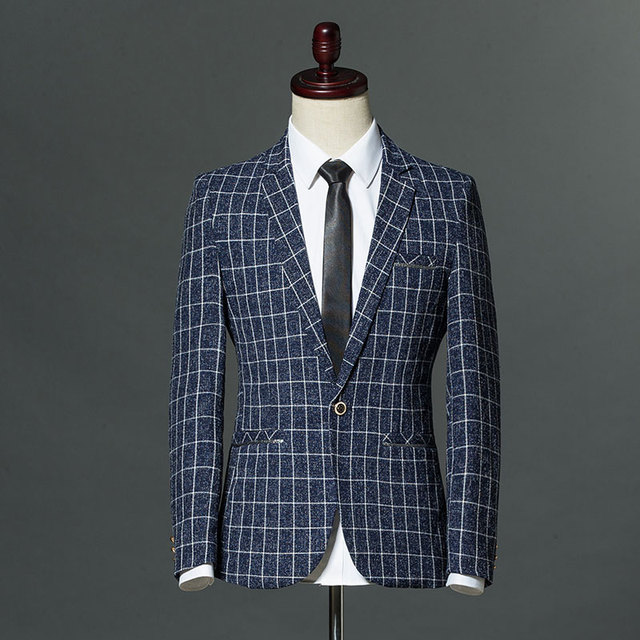 2018 Casual plaid Mens Blazer Slim Fit Summer Spring thin fabric ...