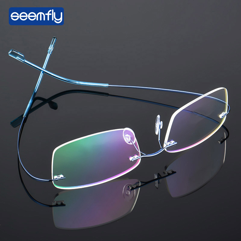 Seemfly Ultralight Frameless Titanium Alloy TR90 Glasses Frame Men High Quality Super Stretch Metal Temple Eyeglasses Frame