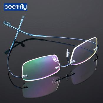 Seemfly Ultralight bezramowe stopu tytanu TR90 okulary rama mężczyźni wysokiej jakości Super elastyczny Metal świątyni ramki okularów tanie i dobre opinie Unisex Stałe YJ0993