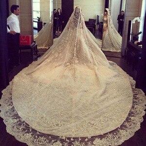 Luxe ivoire 3M Long strass cathédrale mariage voiles avec dentelle Applique garniture cristaux une couche Tulle voile de mariée avec peigne