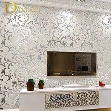 Европейский стиль нетканые обои классический стены рулона бумаги фиолетовый/серый обоев роскошные цветочный papel де parede V1