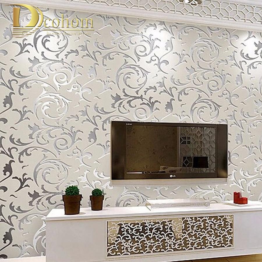 Papel tapiz de estilo europeo no tejido, papel tapiz clásico, rollo de papel tapiz morado/gris, papel tapiz de lujo, papel de pared floral V1
