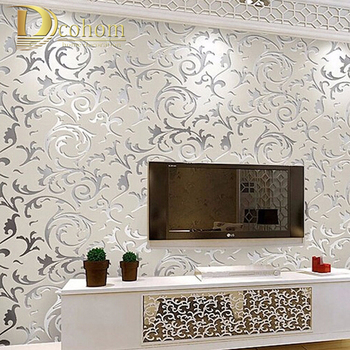 Papel tapiz no tejido de estilo europeo papel tapiz clásico rollo púrpura/gris papel tapiz de lujo papel de pared floral papel de pared V1