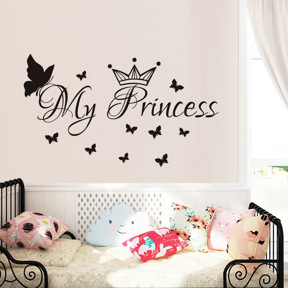 My Princess Butterflies Wall Sticker Removable Vinyl Art Wall Decals Baby Room DIY Wallp ...