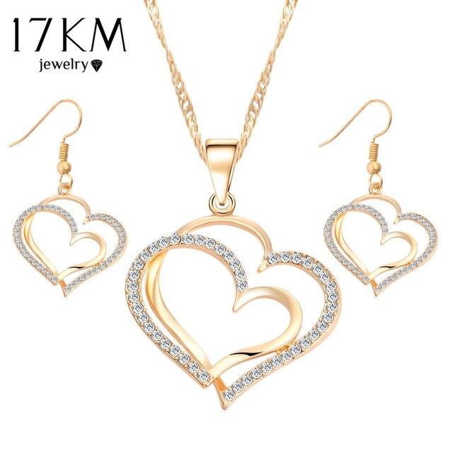 17 KM רומנטי לב דפוס קריסטל עגילי שרשרת סט כסף צבע שרשרת תכשיטי חתונה ערכות תכשיטי האהבה מתנה