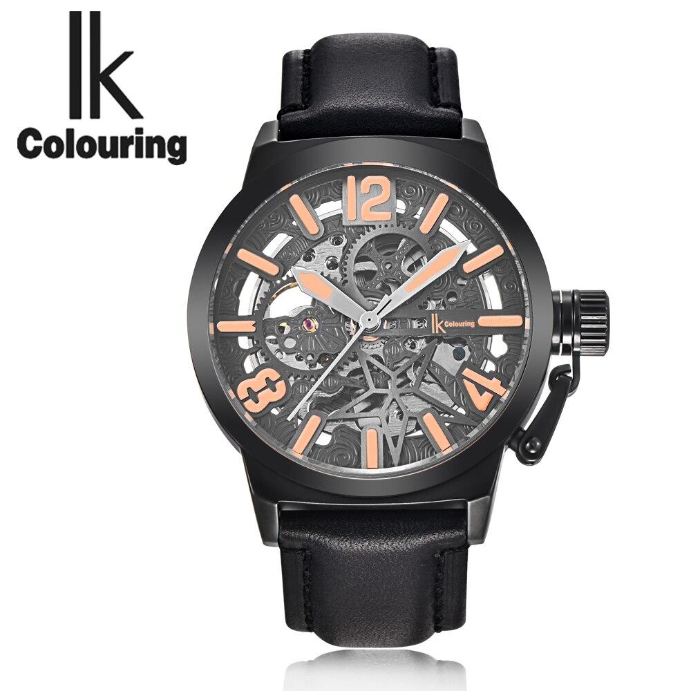 IK colouring 2019 homme horloge ajouré squelette Steampunk montre-bracelet hommes automatique mécanique montre cuir Relogio Masculino