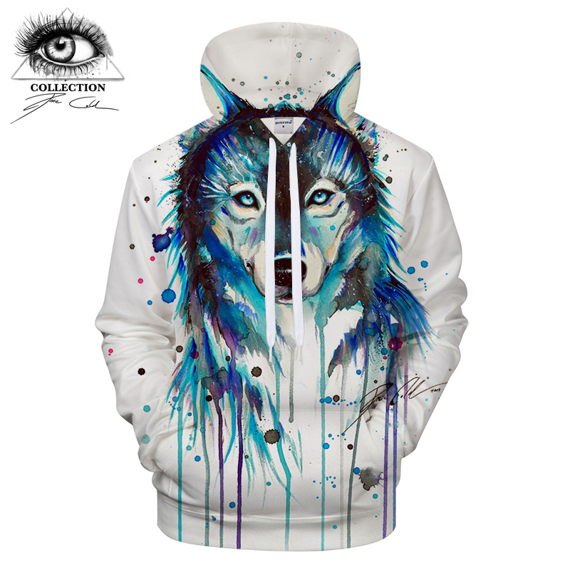 Ice Wolf by Pixie cold Art Hoodies Men Women Sweatshirts 3D Wolf Printed Pullover Hooded Tracksuits Brand jacket Drop Ship ZOOTO