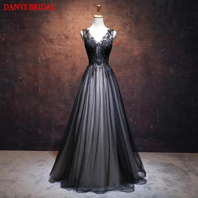861deb04d1 Czarny długie koronkowe suknie wieczorowe Party kobiety zroszony eleganckie  formalne suknie wieczorowe sukienki nosić szata de