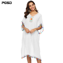 PGSD Spring summer Fashion Bohemia women clothes Hand hook flower Stitching color tassels Loose Deep V Beach Blouse Dress female