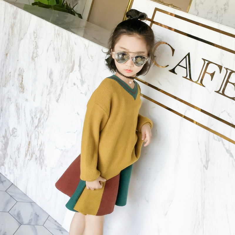 2017 New Autumn Baby Girls Suits Children Sweater Kids Long Sleeve Knitted Shirt Skirt  Toddler Two Pieces Set,2-8Y,#2375 t100 children sweater winter wool girl child cartoon thick knitted girls cardigan warm sweater long sleeve toddler cardigan