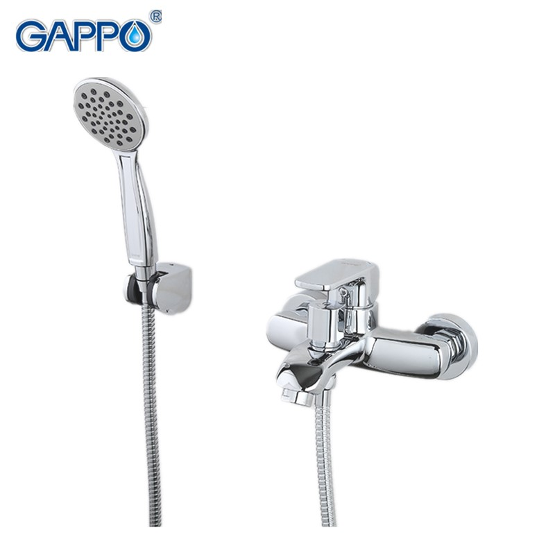 Gappo Classic Chrome Bathroom Shower Faucet Bath Faucet Mixer Tap With Hand Shower Head Set Wall