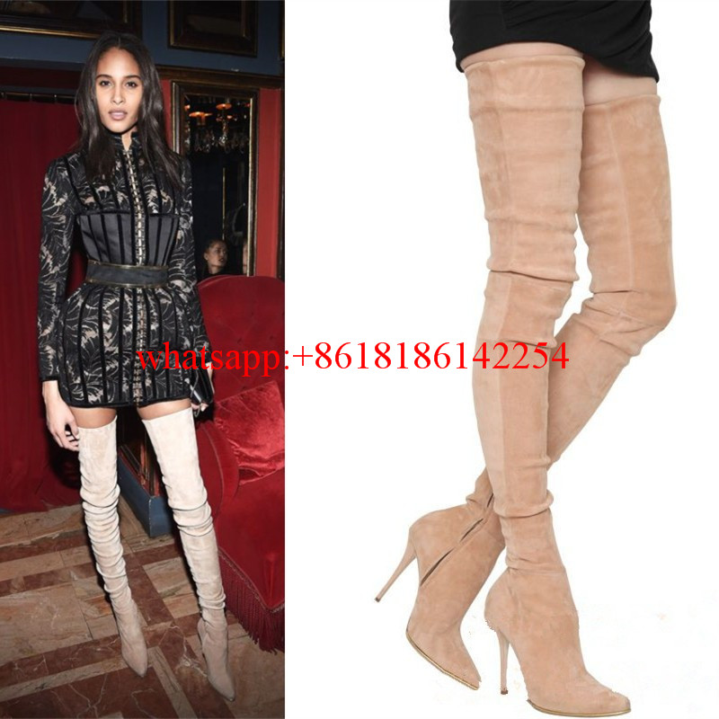 2016 Fashion Week Catwalk Pointed Boots Women High-heeled Over the Knee Booties Sexy T-model Boots Femininas Tight High Boots