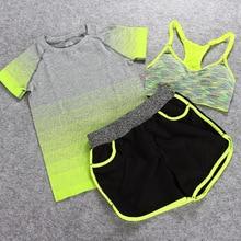 2016 New Yoga Sets Women Gym Clothes Cotton Blends Material Breathable Sports Bra + Pants + Shirt Yoga Set Women