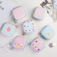 Women Portable Mini PU Wallet Zipper Headphone Case Earphone Bag Usb Cable Organizer Earbuds Pouch Box for Small child Coin Purs