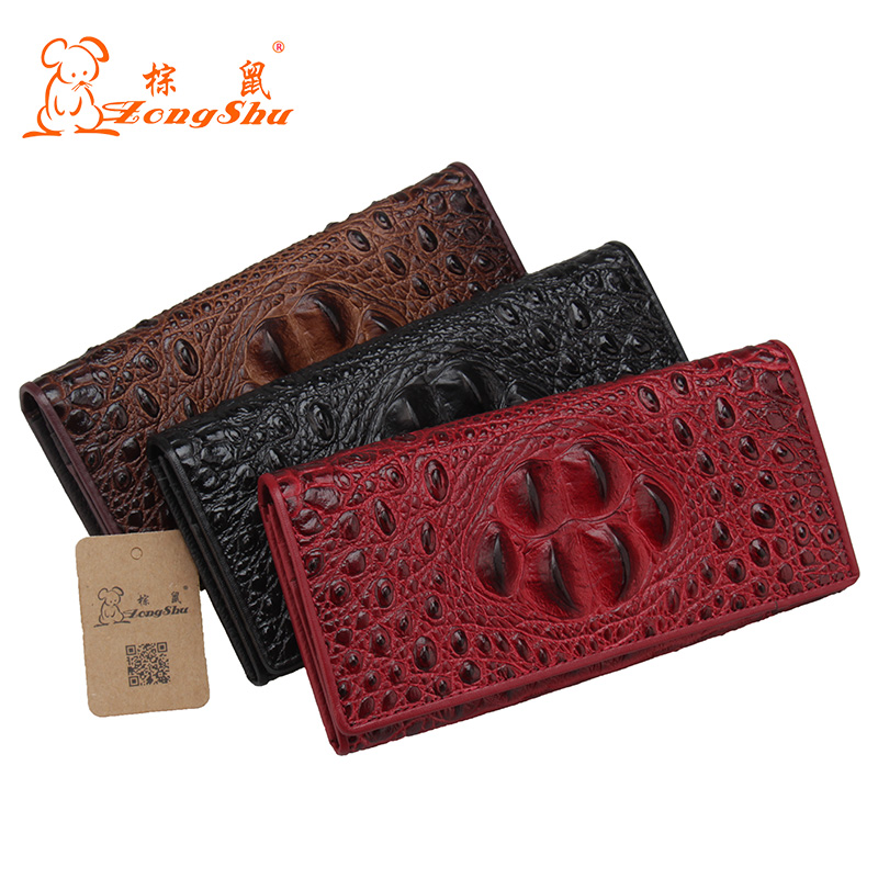 Cow Leather Long Wallets Coin Pocket Vintage Female Purse Function Brown Genuine Leather Women Wallet with