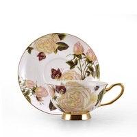 الرئيسية الأزياء العظام الصين فنجان القهوة مجموعة كوب الشاي مع الصحن كوب زهرة كوب الشاي السيراميك