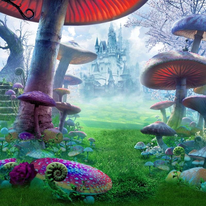 Vinyl Photography Background Alice In Wonderland Mushroom