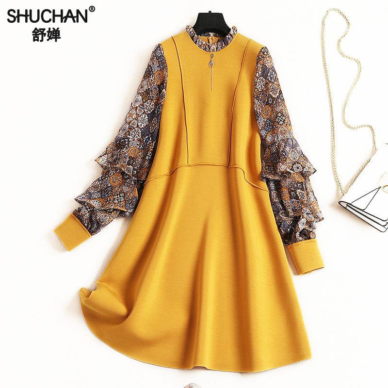Shuchan 2019 robe pour femme vêtements de mode Belles Robes décontracté A-ligne Appliques Genou-longueur D'o-Cou Printemps Slim Fit Robe Femme