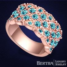 Pavimenta los anillos Original Swarovski Elements Crystal Rose plateó la joyería de la alta calidad