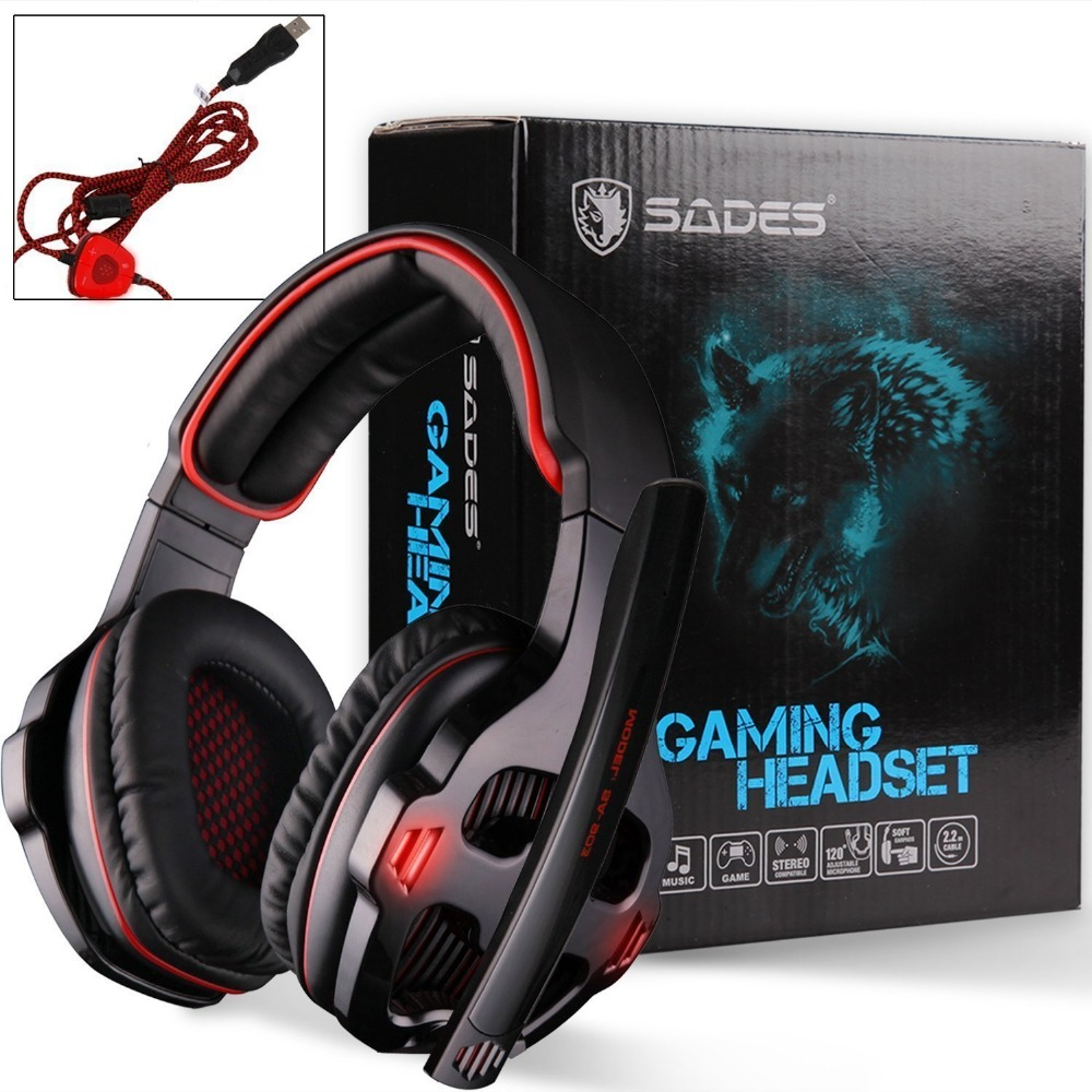 SADES SA-903 USB 7.1 Surround Sound Stereo Game Gaming Headset over-ear headband headphone light with Mic  for laptop PC Gamer professional gaming headset surround stereo game headphone headband earphone 3 5mm with light mic micphone for computer pc gamer
