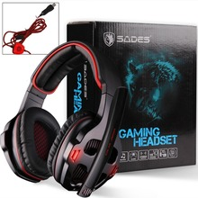 SADES SA-903 USB 7.1 Surround Sound Stereo Game Gaming Headset over-ear headband headphone light with Mic  for laptop PC Gamer